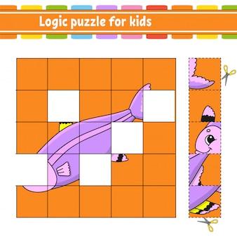 Logik-puzzle für kinder. fisch. arbeitsblatt zur bildungsentwicklung. lernspiel für kinder.