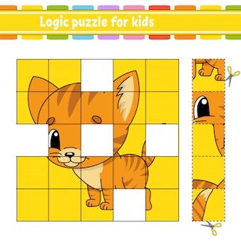 Logik-puzzle für kinder. katzentier. arbeitsblatt zur bildungsentwicklung. lernspiel für kinder.