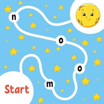 Logik-puzzle-spiel. süßer mond. wörter lernen für kinder. finden sie den versteckten namen. arbeitsblatt zur bildungsentwicklung. aktivitätsseite