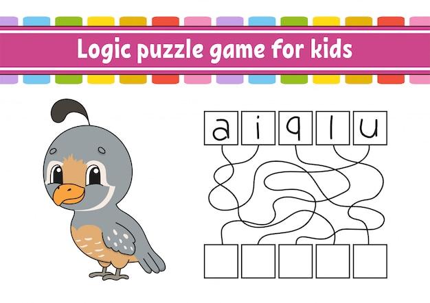 Logik-puzzle-spiel. wörter für kinder lernen. finde den versteckten namen.