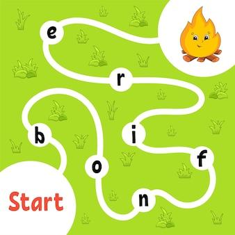 Logik-puzzlespiel. wörter für kinder lernen. finde den versteckten namen.