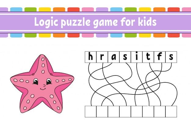 Logik-puzzlespiel. wörter für kinder lernen. seestern. finde den versteckten namen.