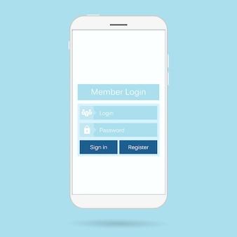 Login-formular für mobile benutzeroberfläche.