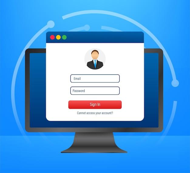 Login-seite auf dem laptop-bildschirm. notizbuch und online-anmeldeformular, anmeldeseite. benutzerprofil, zugang zu kontokonzepten. vektor-illustration.