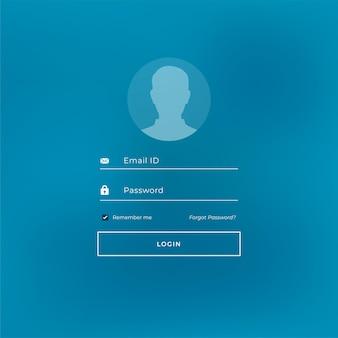 Login-stempel im blauen design