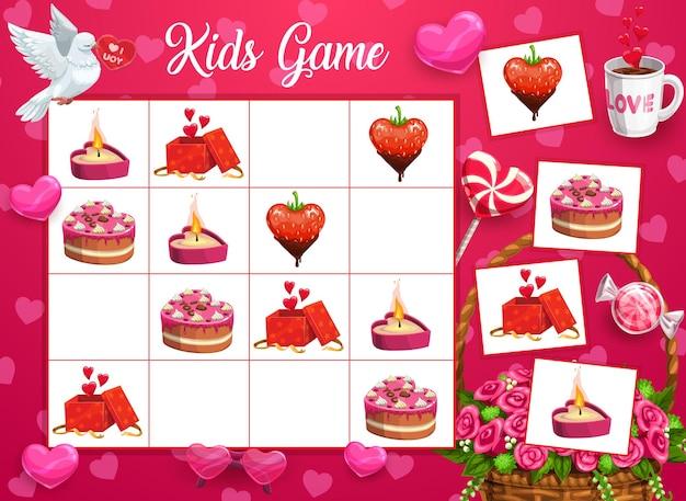 Logisches kinderspiel mit valentinstagssymbolen