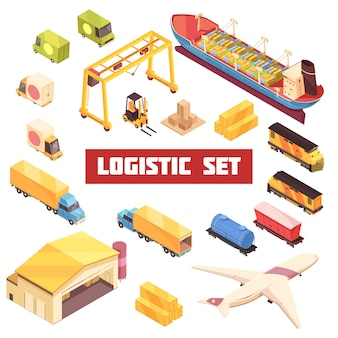 Logistic transportation isometric elements set