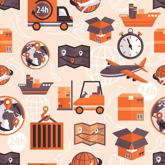 Logistic versand fracht service nahtlose muster mit globus und pfeile auf hintergrund vektor-illustration.