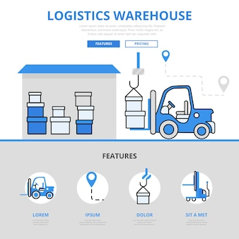 Logistic warehouse delivery storage ladeservice feature konzept flat line style.