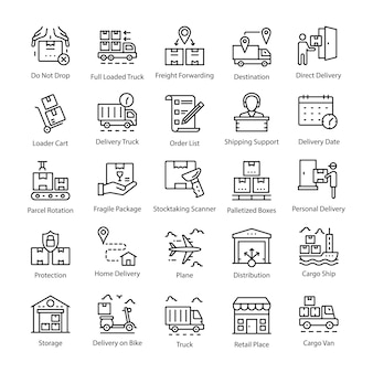 Logistik delivery line icons pack