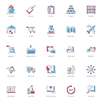 Logistik lieferung icons pack