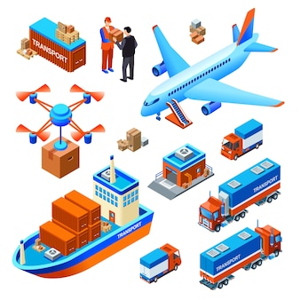 Logistik lieferung transport frachtschiff oder fracht flugzeug und drohne liefern