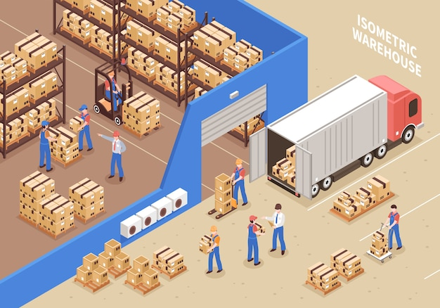 Logistik- und lagerillustration