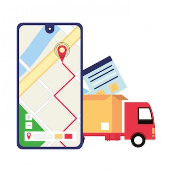 Logistik und lieferung versand cartoon