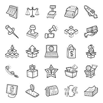Logistik und werbung handgezeichnete icons pack
