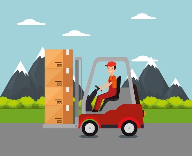 Logistikdienstleistungen mit gabelstapler und arbeiter