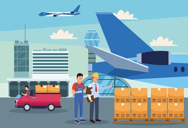 Logistiker im flughafen
