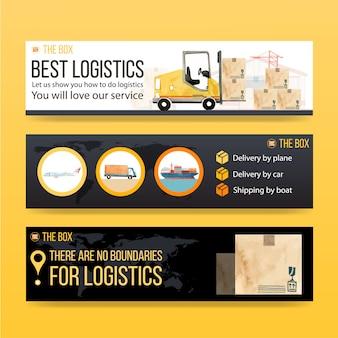 Logistikfahnenentwurf mit aquarellmalerei von kasten-, auto-, flugzeug-, bootsillustrationen.
