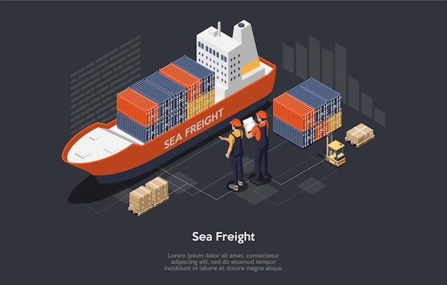 Logistikkonzept. satz frachtschiff, container, arbeiter. transport seeschifffahrt. flacher stil.