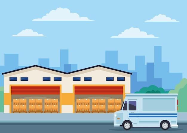 Logistiklager und lieferwagen