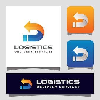Logistiklieferung mit buchstabe d mit pfeillogo für ihr unternehmen.