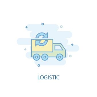 Logistiklinienkonzept. einfaches liniensymbol, farbige abbildung. logistiksymbol flaches design. kann für ui/ux verwendet werden