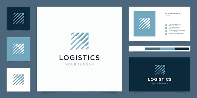 Logistiklogo mit modernem, einzigartigem konzeptlogo und visitenkartenvorlage