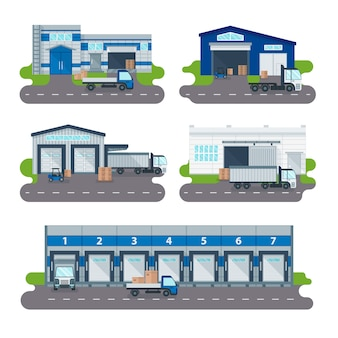 Logistiksammlungslager-lieferungszentrum, ladende lkws, gabelstaplerarbeitskraftvektor.