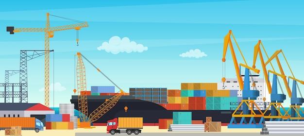 Logistiktransportt containerschiff mit industriekranimport und -export in der frachthafenwerft. illustration der transportindustrie