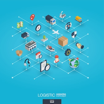 Logistisch integrierte 3d-web-symbole. isometrisches konzept des digitalen netzwerks.