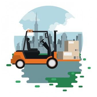 Logistische frachtkarikatur der transportwaren