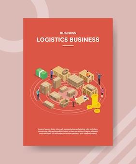 Logistische geschäftsleute arbeiten verpacktes produkt für vorlage des flyers