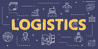 Logistische Gliederungssymbol-Bannerabdeckung für weltweite Logistik und Versand