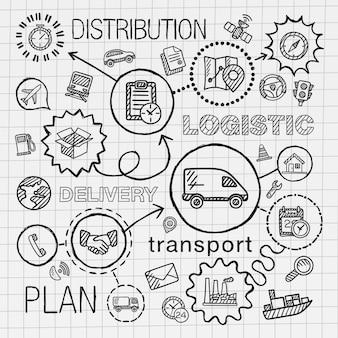 Logistische handzeichnung integrierte symbole gesetzt. skizze infografik illustration mit linie verbunden gekritzel luke piktogramme auf papier. vertrieb, versand, transport, dienstleistungen, containerkonzepte