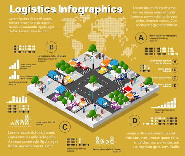 Logistische illustration infografiken des städtischen straßenverkehrs