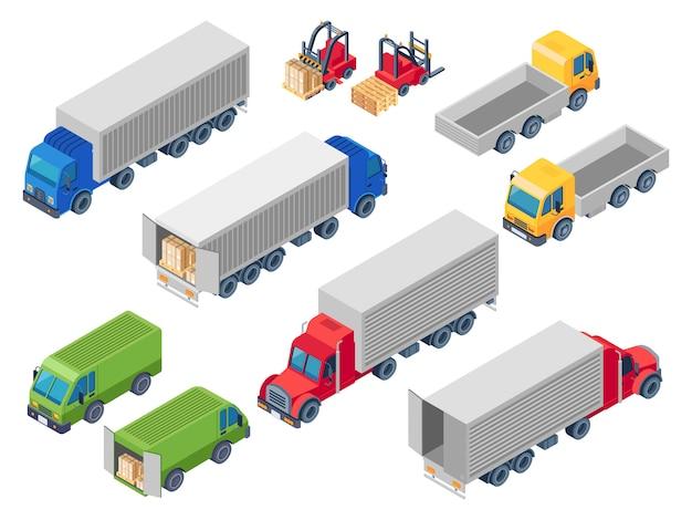 Logistische isometrische lkw-lkws. verladen von lkw, frachtcontainer-lkw und anhängerlader. van autos 3d illustration