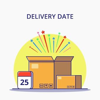 Logistische liefertermine mit kalender und boxen cartoon illustration. logistik-symbol-konzept.