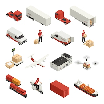 Logistische lieferung der isometrischen ikonen des frachttransports durch verschiedene fahrzeuge und brummentechnologie