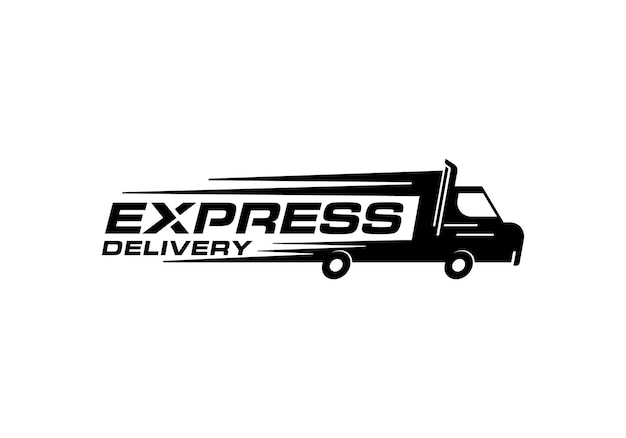 Logistische lieferung, lkw-express-schnellversand-logo-design-vorlage