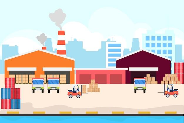 Logistischer lieferservice im hafen