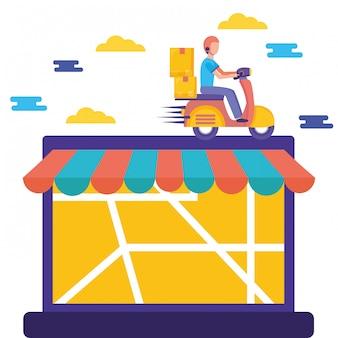 Logistischer lieferservice mit laptop- und kurierillustration