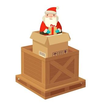 Logistischer weihnachtsmann mit einem geschenk. flache vektor-illustration. für poster, logo, web, infografik, banner