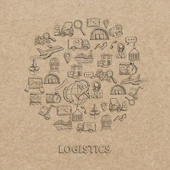 Logistisches konzept mit skizzenlieferung und dekorativen ikonen des versands auf papierhintergrund vector illustration