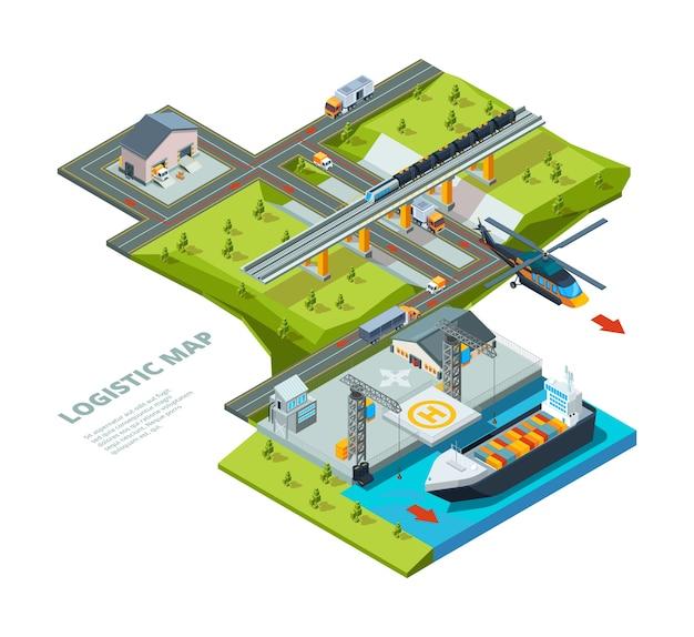 Logistisches konzept. straßenkarte zeigt ozeanschifffahrt eisenbahnen und auto frachttransport logistischen hintergrund isometrisch. frachtlieferung, lkw und logistische maritime illustration