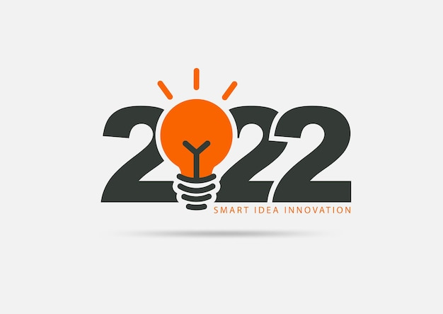 Logo 2022 neues jahr mit kreativem glühbirnendesign, moderne layoutvorlage der vektorillustration