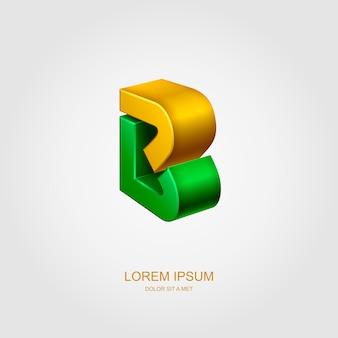 Logo 3d in form des buchstabens