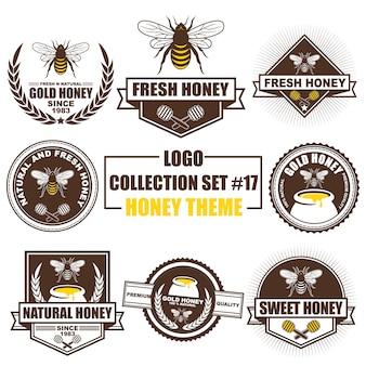 Logo, abzeichen, symbol, ikone, etikettenschablonendesignsammlung stellte mit honigthema ein