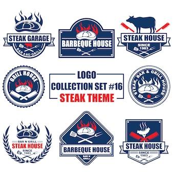 Logo, abzeichen, symbol, ikone, etikettenvorlagendesignsammlung stellte mit steakthema ein
