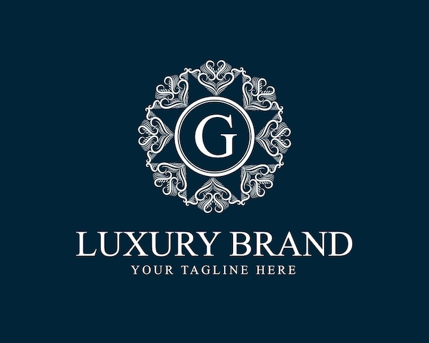 Logo antike retro luxus viktorianischen kalligraphie mit zierrahmen