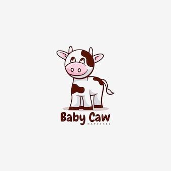 Logo baby cow einfacher maskottchen-stil.